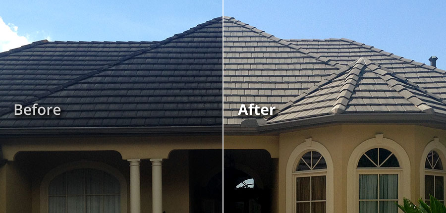 Baton Rouge LA Soft Wash Tile Roof Stain Removal Cleaning