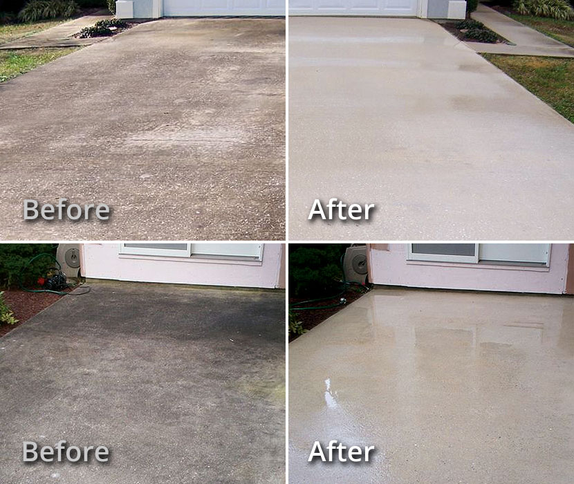 Examples Of Concrete Driveway And Patio Cleaning BEFORE U0026 AFTER