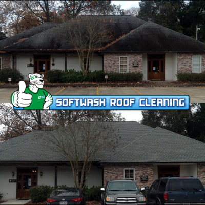 SoftWash Commercial Roof Cleaning BEFORE & AFTER by Green Tiger SoftWash