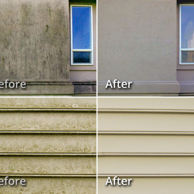 Examples of Stucco and Vinyl Siding House Washing BEFORE & AFTER